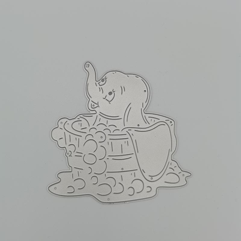 Baby Elephant bathing in the tub Metal Cutting Dies Stencil DIY Scrapbooking Photo Album Decor Embossing Cards Making DIY Crafts