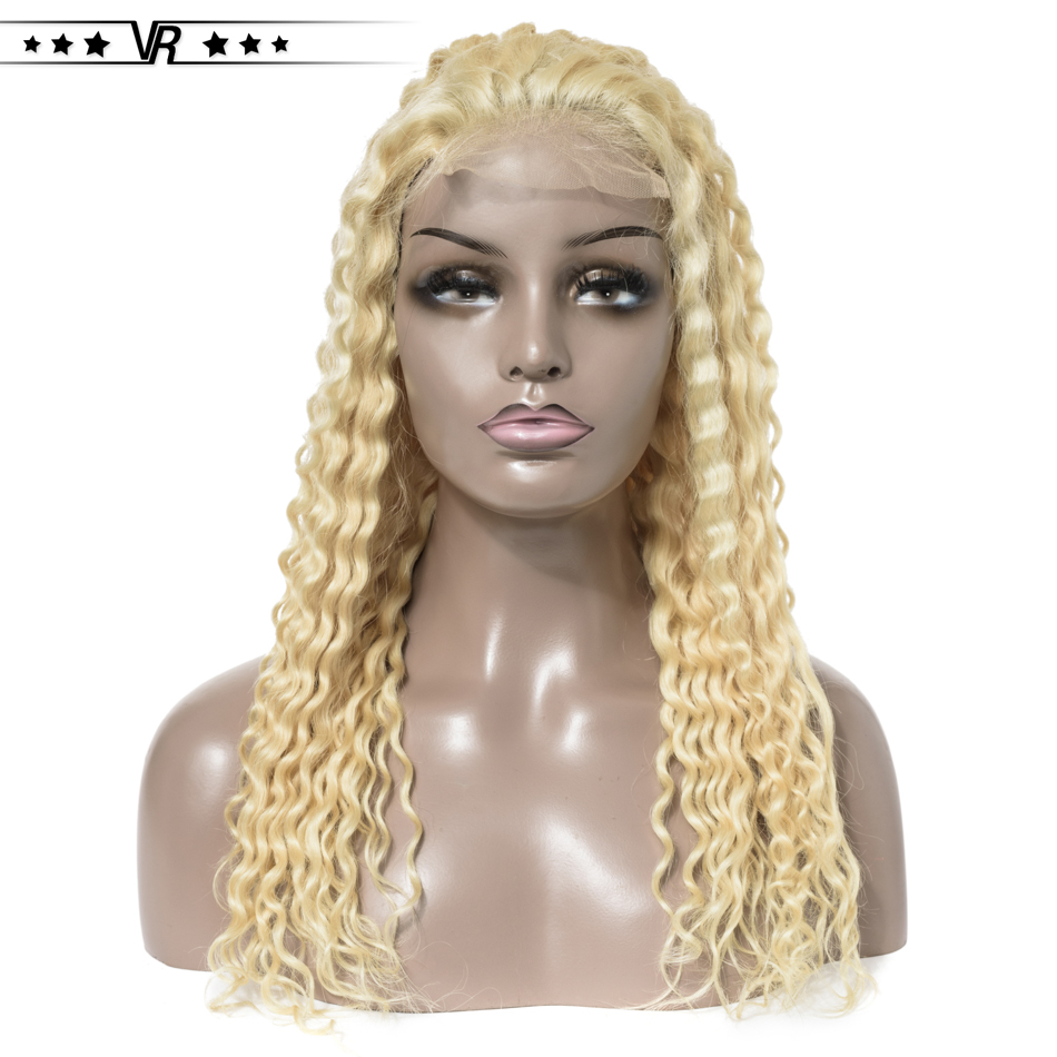 Blonde Lace Wig 130%-200% Density 4x4 Deep Wave Curly 613 Wig Pre Plucked With Natural Baby Hair