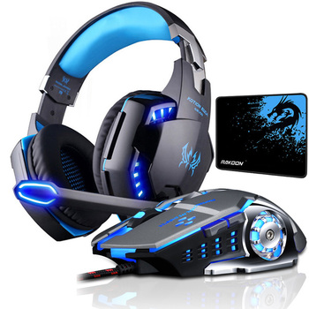 KOTION EACH Gaming Headset Deep Bass Stereo Game Headphone with Microphone LED Light for PS4 PC Laptop+Gaming Mouse+Mice Pad kotion each g1200 gaming headset 3 5mm game headphone headband gaming headphone with mic stereo bass for pc laptop mobile phones