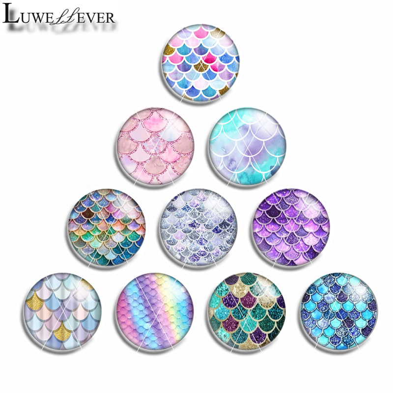 10mm 12mm 14mm 16mm 20mm 25mm 464 10pcs/lot Mermaid Mix Round Glass Cabochon Jewelry Finding 18mm Snap Button Charm Bracelet