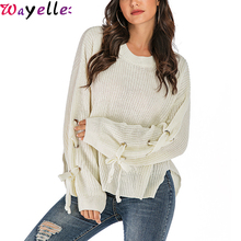Knitted Sweater Women 2019 Autumn/winter New Sexy O-neck Casual Lace-up Pullovers Koean Style Loose Big Size
