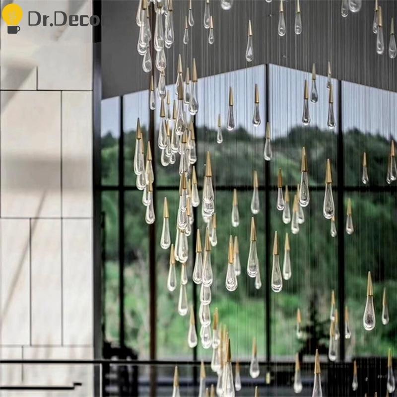 Nordic Crystal Chandelier Modern LED Chandeliers Villa Hotel Living Room Luxury Chandelier Lighting Glass Rods Indoor Luminaria