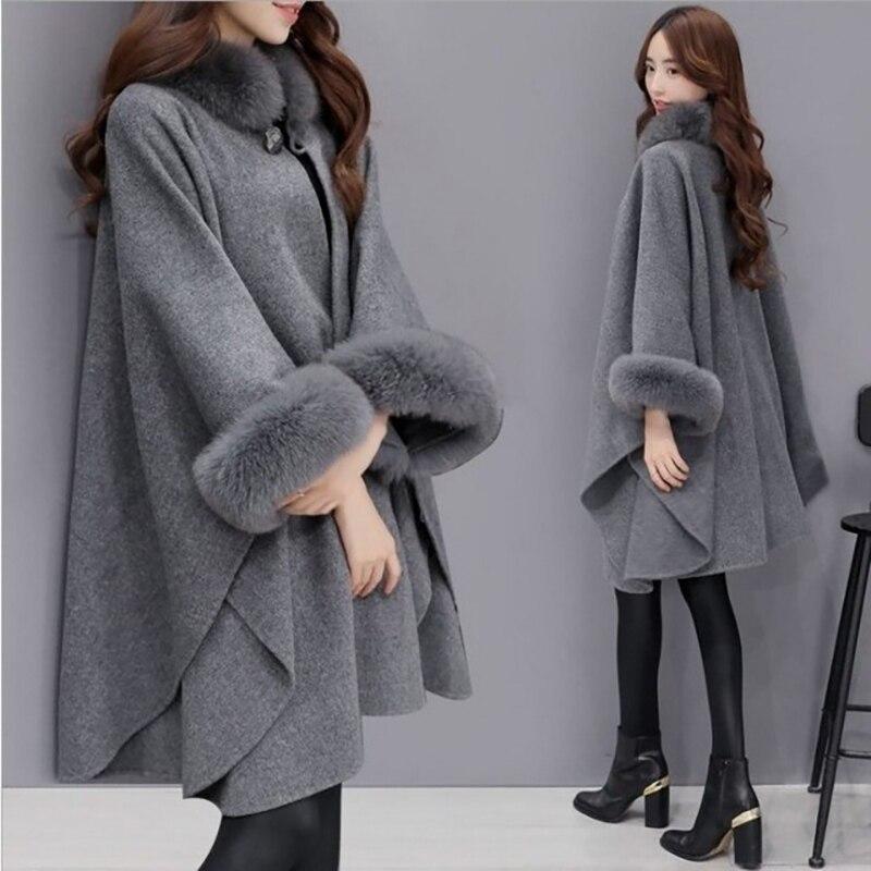 Pregnant Woman Brand New Christmas Fashion Flare Sleeve Faux Fox Fur Collar Winter Wool Cloak Cape Coat Poncho Long Overcoat