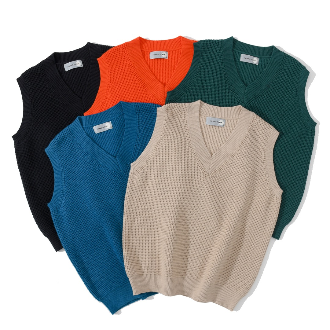 Cotton Knitted Sweater Vest Men Solid Spacious Men Clothing Multicolor Fashion V-neck Pullover Casual Male Sweater Pull Homme