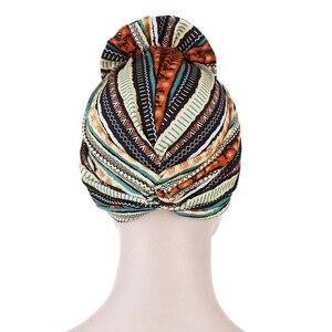 Image 4 - Helisopus algodão senhoras impresso headbands quimio boné elástico headscarf feminino muçulmano turbante beanies cabelo acessórios