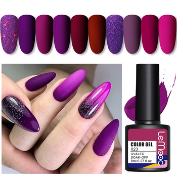 LEMOOC 8ml Purple Series Primerss Gel Varnish Soak Off UV LED Gel Nail Polish Base Coat Matte Top Coat Gel Polish Nail Art недорого