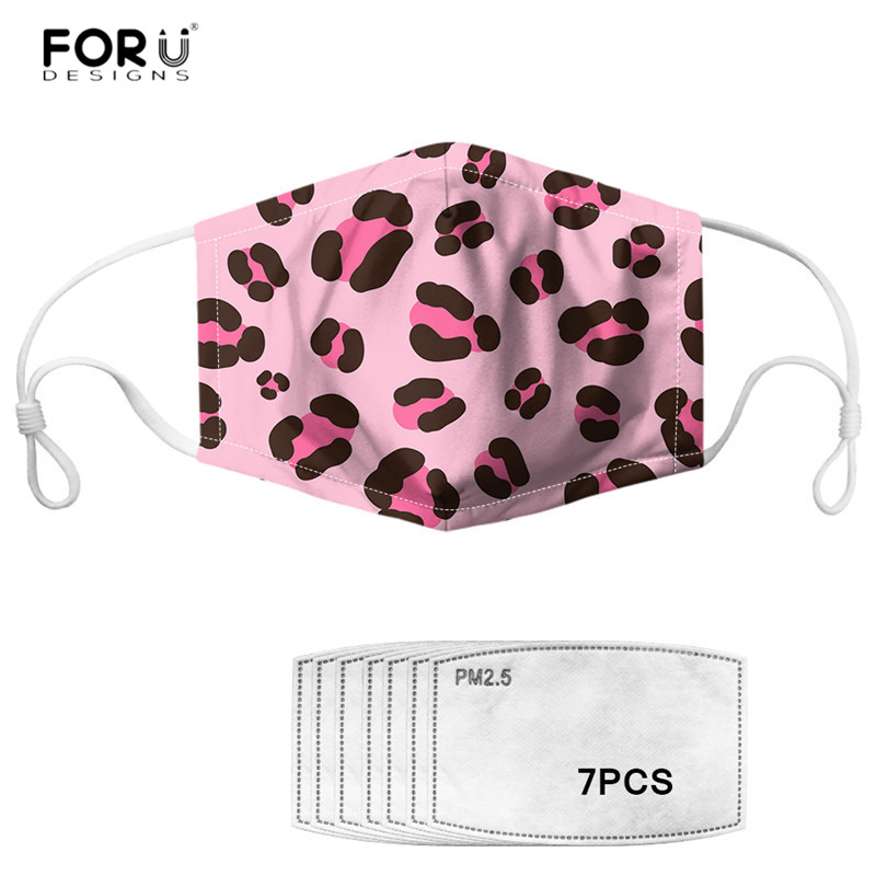 FORUDESIGNS Sexy Leopard Print Pink Face Masks Activated Carbon 7pcs Filter Mouth Mask For Women Men Dustproof Hygiene Masks