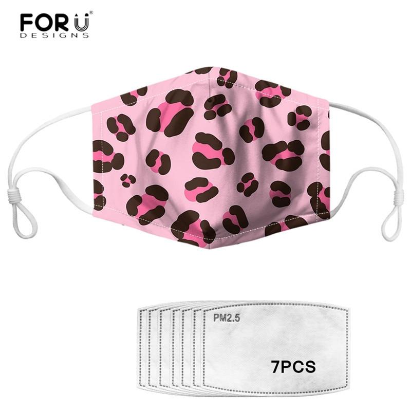 FORUDESIGNS Sexy Leopard Print Pink Face Masks Activated Carbon 7pcs Filter Mouth Mask For Women Men Dustproof Hygiene Masks