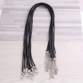 30pcs 45mm Braided Adjustable Black Leather Rope Wax Cord DIY Handmade Necklace Pendant Lobster Clasp String Jewelry Chains