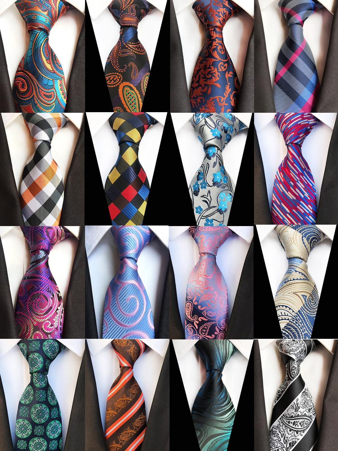Fashion 8cm Floral Silk Mens Tie Green Yellow Plaid Paisley Jacquard Weave Necktie Suit Business Wedding Neck Ties Accessories