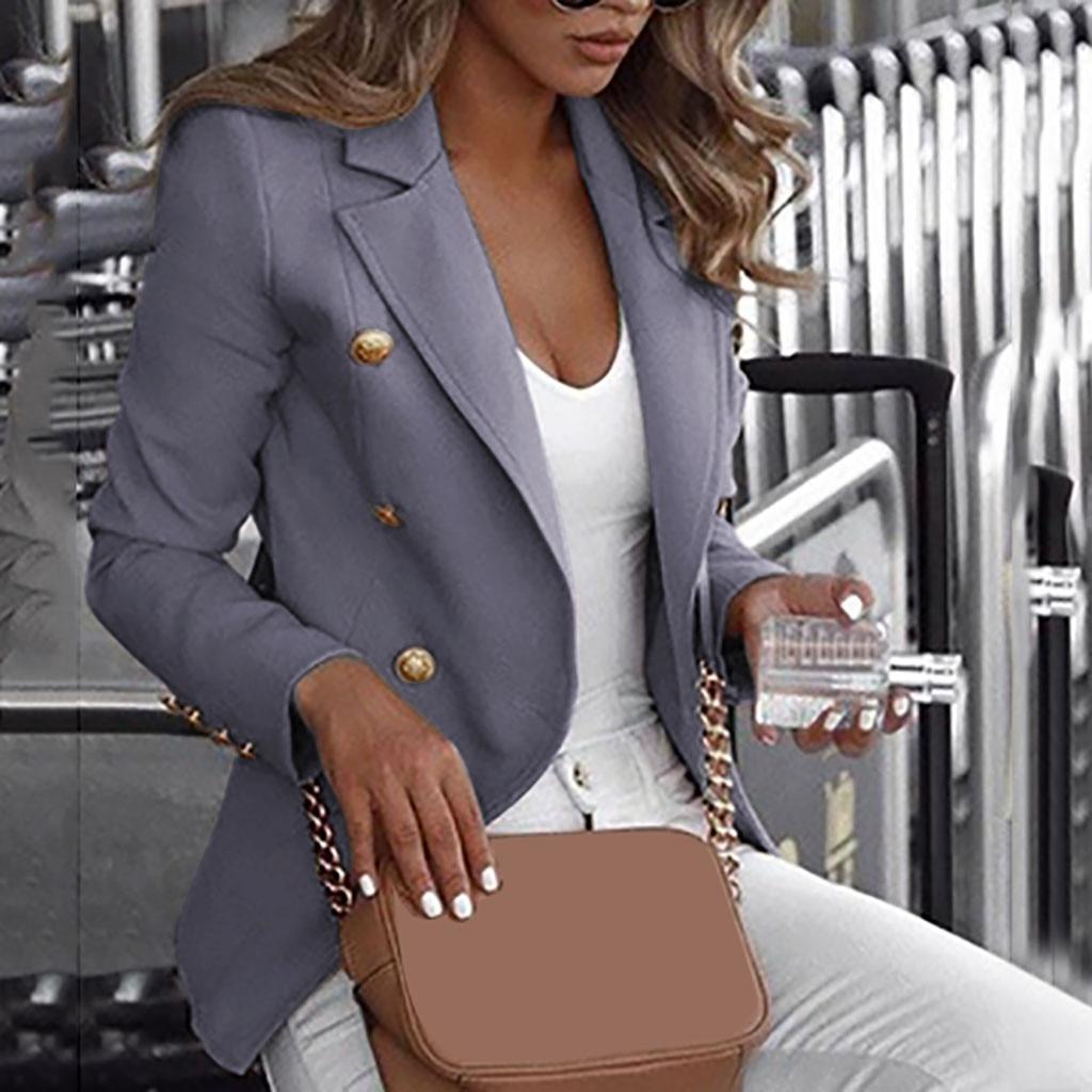 Office Ladies Women Coats Women Loose Suit Coat Top Long Sleeve Casual Jacket Ladies Office Wear Coat Blouse Autumn Coat W1017