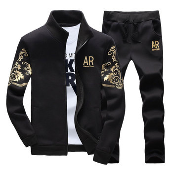 Spring Tracksuits Men Sporting Gyms Mens Set Casual Outfit Sportswear Fitness Men's Clothing Bodybuilding Male Zipper Sweat Suit 2