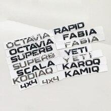 Para skoda fabia kamiq karoq kodiaq octavia rápido superb yeti carro tronco letras emblema logotipo adesivo dianteiro traseiro distintivo brilhante preto
