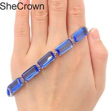 Deluxe Top AAA 19.1g Rectangle Created Violet Tanzanite Pink Kunzite Gift For Girls Silver Bracelet 16x8mm
