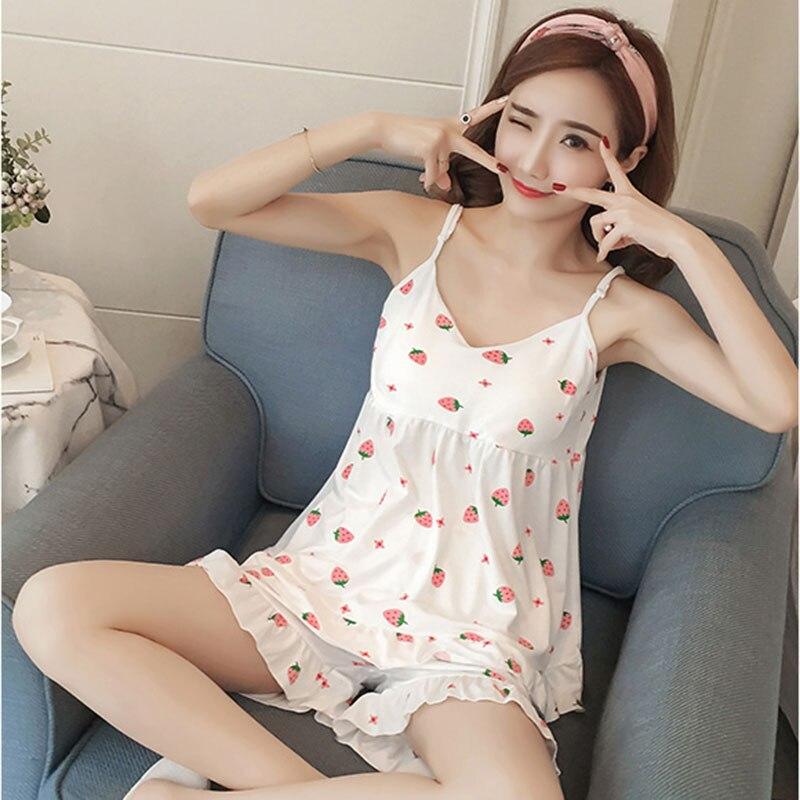 Harajuku Strawberry Graphic Cream White Home Spodní prádlo Ženy Japonská móda Roztomilé pyžamo Dívky Dospívající noční košile Bavlněné pyžamo