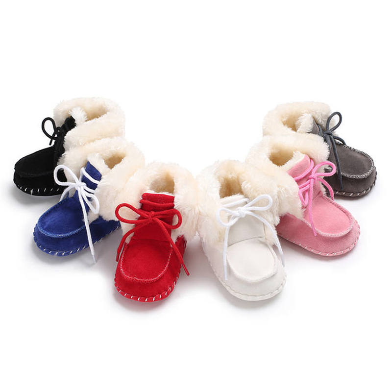 Baby Shoes Toddler Soft Sole Anti-slip Velvet Plush Lace-up 0-2 Years Boy And Girl Outdoor Baby Boots First Walkers Infant Shoes