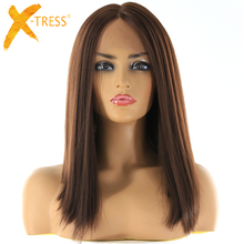 Medium Brown Synthetic Hair Lace Front Wigs High Temperature Fiber X-TRESS Yaki Straight Short Bob Blunt Lace Wig Middle Part