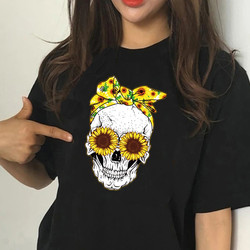 Female Funny Skull Punk T Shirt Women Casual Black Short Sleeve Tops Girl 90S Clothing,Drop Ship,Ready Stock