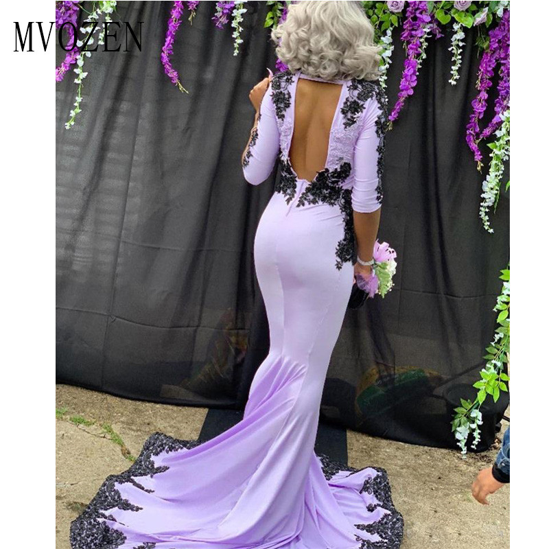 Vestidos Mermaid Evening Dresses Long Purple Half Sleeve Black Appliques Satin Special Occasion Dress Backless Formal Gowns