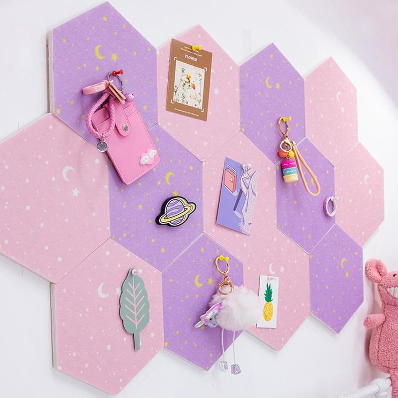 7Pcs 3D Hexagon Moon Star Felt Board Letter Message Board Photo Display DIY Art Wall Decoration Office Planner Schedule Board 3