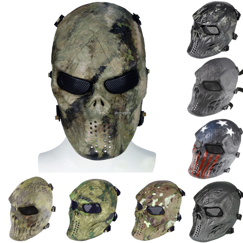 Full Face Army Tactical Paintball Mask Protection Military Airsoft Shooting Skull Mask Safety Outdoor Hunting CS Wargame Mask