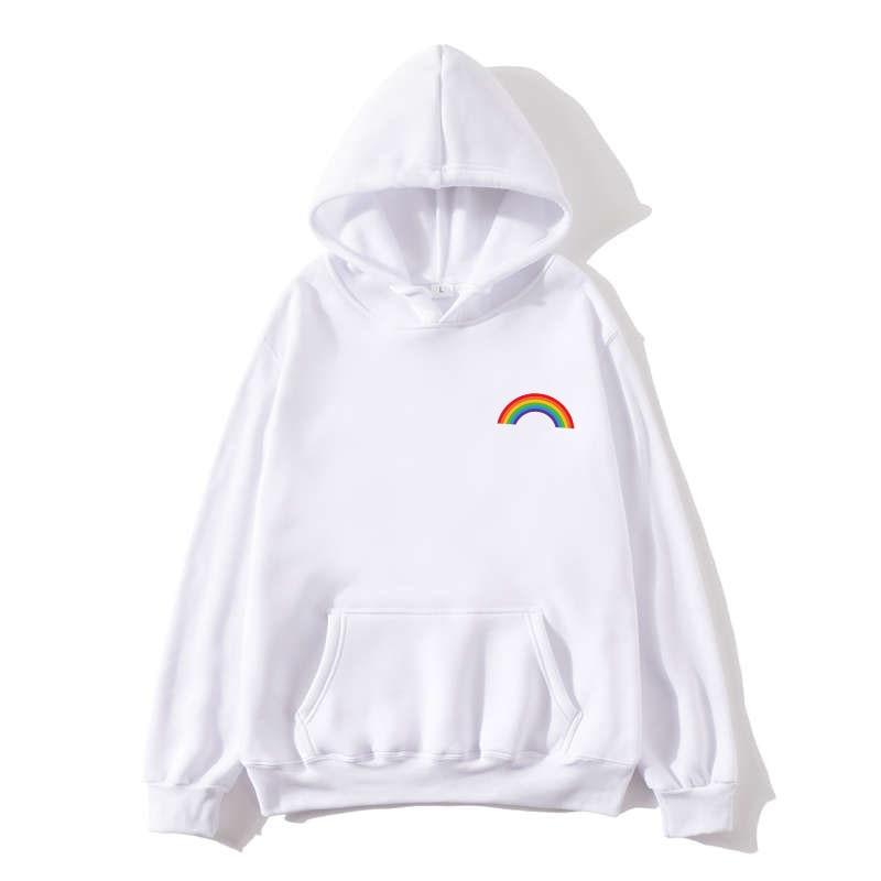 Women's Sweatshirt Korean Edition Loose Rainbow Pattern Harajuku Lazy Wind Weird Thin Jacket Hoodie Jacket Punk Clothes