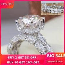 Брендовое дизайнерское Винтажное кольцо с круглой огранкой 3ct 5A Циркон Cz 925 пробы Серебряное обручальное кольцо для женщин
