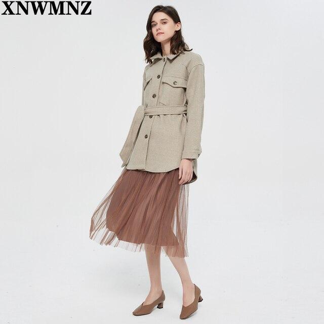 XNWMNZ Za Women 2020 Fashion With Belt Loose Woolen Jacket Coat Vintage Long Sleeve Side Pockets Female Outerwear Chic Overcoat 3