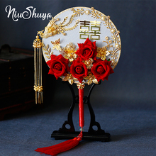 NiuShuya Exquisite Chinese Handmade Fan Wedding 3D Red Roses Double-Sided Hand Gold Phoenix Costume Photography Accessories