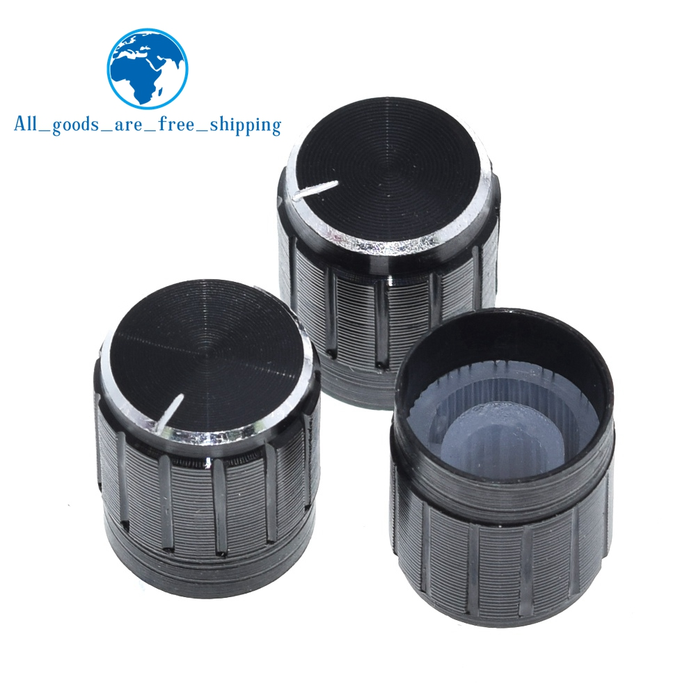 5Pcs Black Knob Hole 6Mm For Rotary Taper Potentiometer Aluminum Alloy New Ic ie