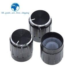 TZT-perilla de potenciómetro de aleación de aluminio, 10 Uds., 15x17mm, interruptor giratorio, perilla de control de volumen, color negro, para bricolaje