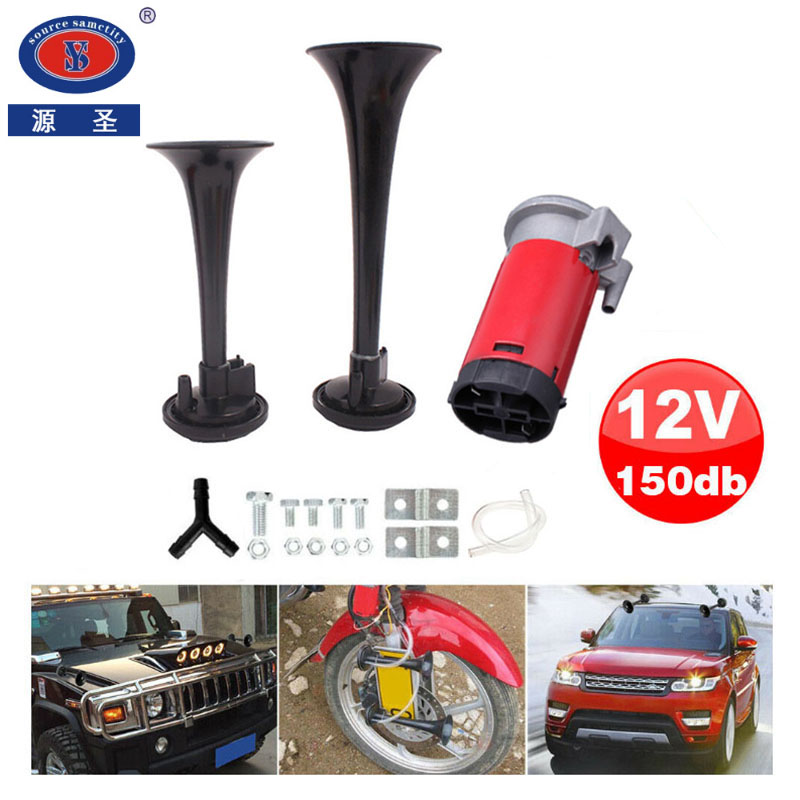 Three tone air horn set LOUD 12v van car boat trumpet compressor pipe switch kit