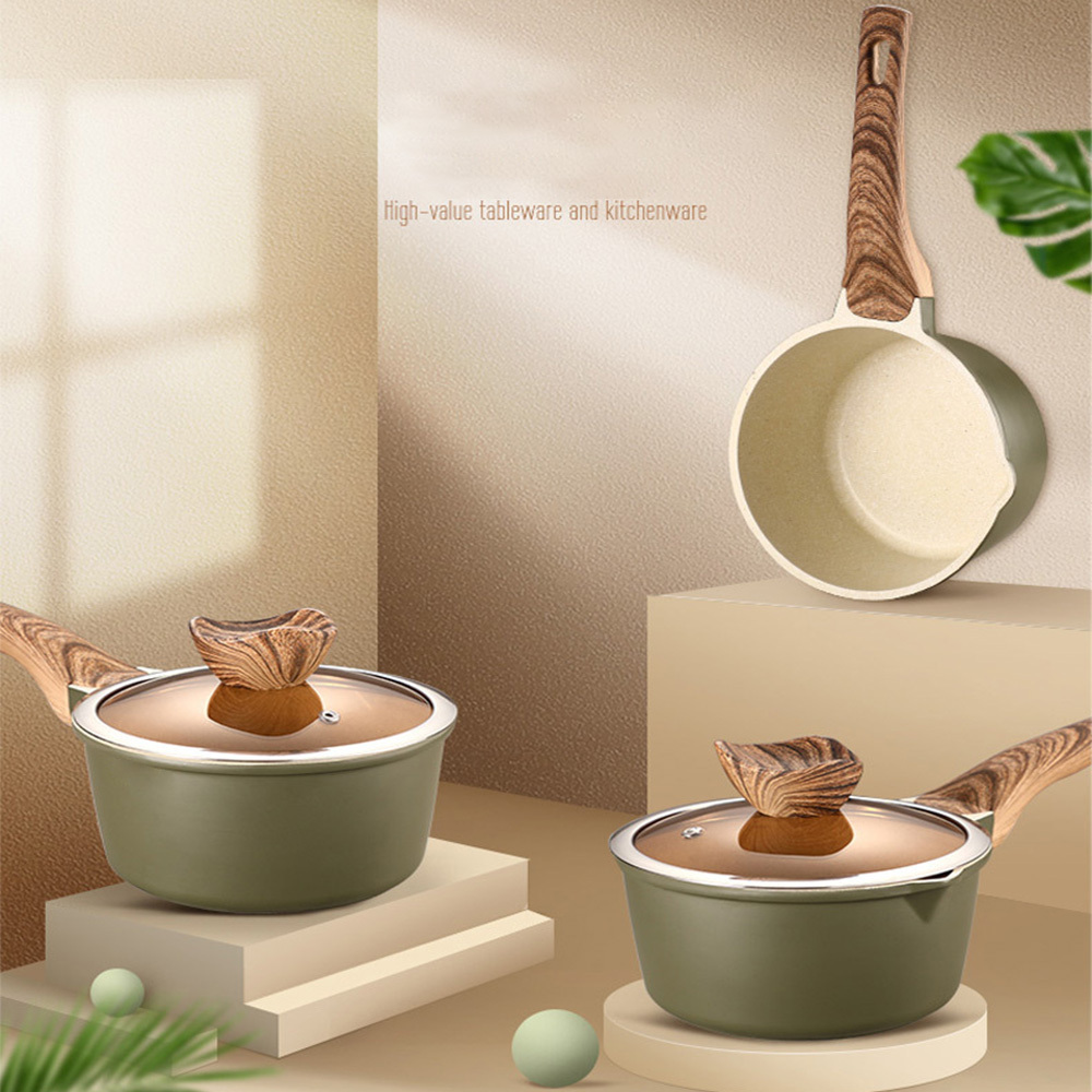 New  Design Milk Pan Mini Butter Warmer Saucepan Pan Cookware With Wooden Handle Multi Functional Non-stick Cooking Pan Tools