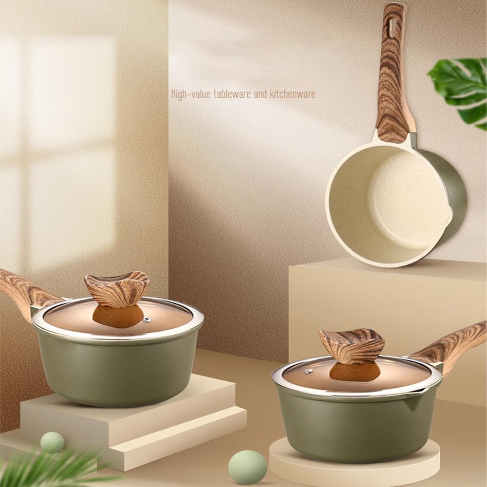 New Multi Functional Non-stick Cooking Pan Tools Design Milk Pan Mini Butter Warmer Saucepan Pan Cookware With Wooden Handle