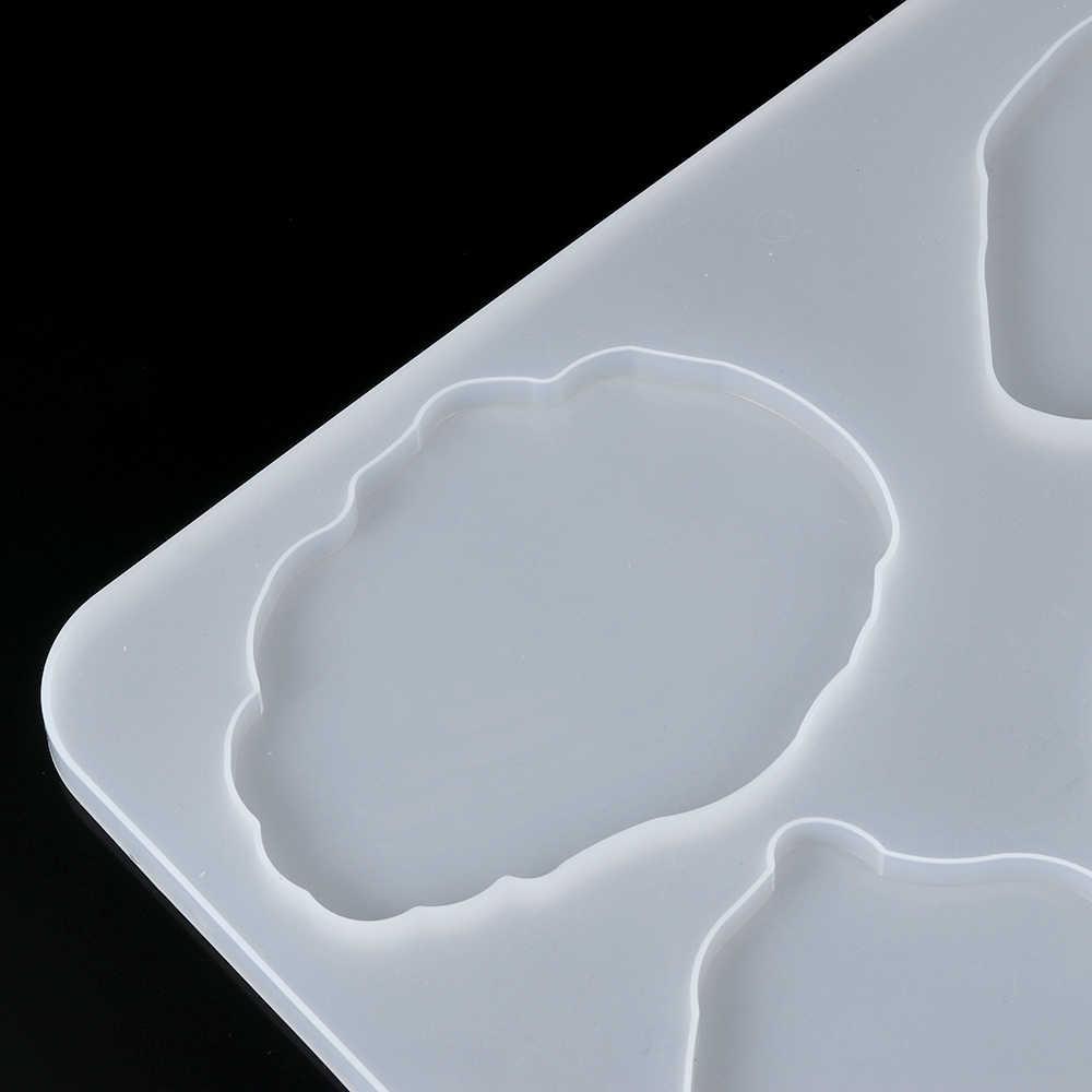 1PC Batu Akik Coaster Bahan Getah Silikon Rumah Membuat Perhiasan Kristal Epoxy Cetakan Kerajinan DIY Kerajinan Tanah Liat Alat