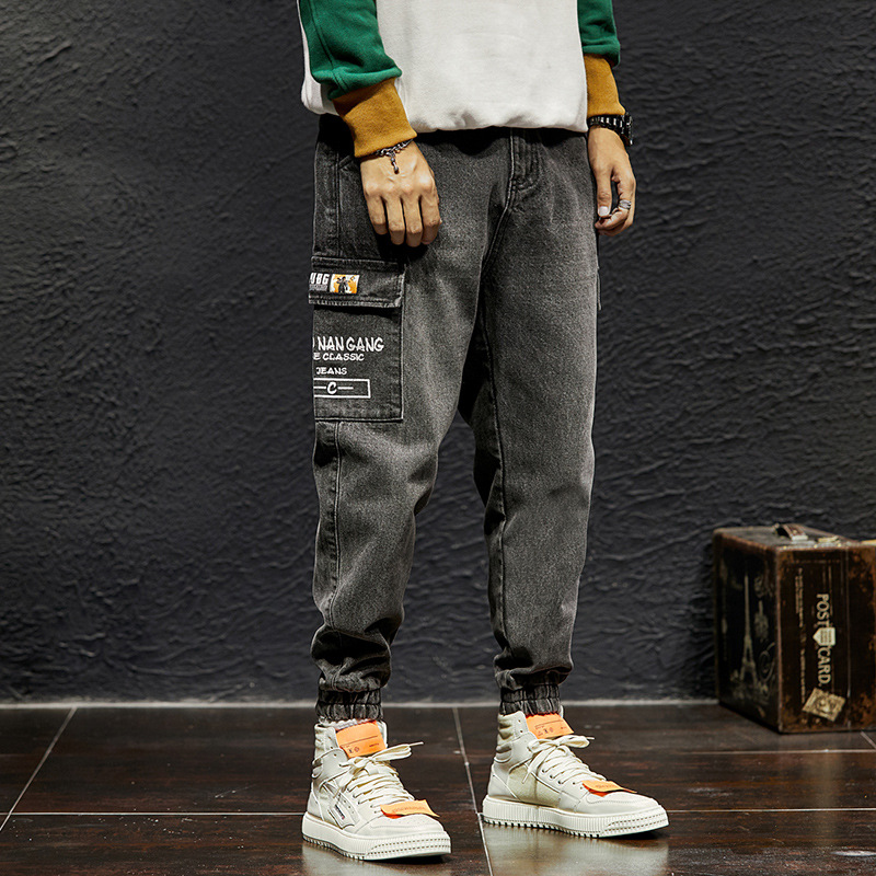Japanese Fashion Men Jeans Loose Fit Retro Gray Elastic Cargo Pants Big Pocket Harem Jeans Streetwear Hip Hop Joggers Jeans Men