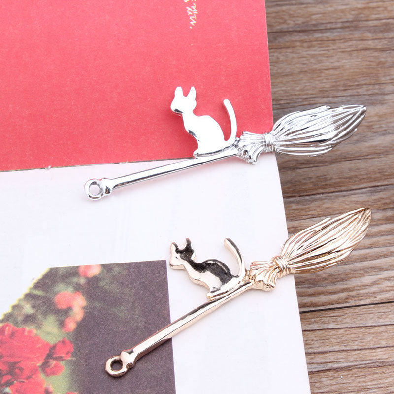 10pcs Korean Alloy Diy Accessories Bracelet Necklace Hair Rope Material Witch's Magic Broom And Cat Pendant