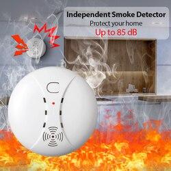 を fuers 煙検出器ホームセキュリティスマートワイヤレス独立した煙火災探知依頼警報センサーローバッテリーアラーム保護