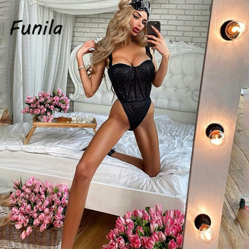 Sexy Bodysuit for Female Women Black Shiny Bandage One Piece Overalls Sleeveless Fashion Large Size Rompers Lace Up Top Bodycon 1