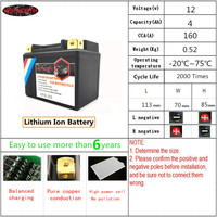 12V 4000mAh Motorcycle LiFePO4 Battery KP4L BS Jump Starter Lithium ion Battery CCA 160A 4Ah With BMS Voltage Protection