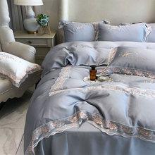 Juego de ropa de cama de encaje de lujo Princesa para adolescentes adultos, tamaño king de moda vintage doble textil para el hogar, funda de almohada, funda de edredón