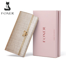 FOXER Brand Womens Split Leather Long Wallets Lady Luxury Clutch Bag Coin Purse Female Fashion Credit Card Holder for Women