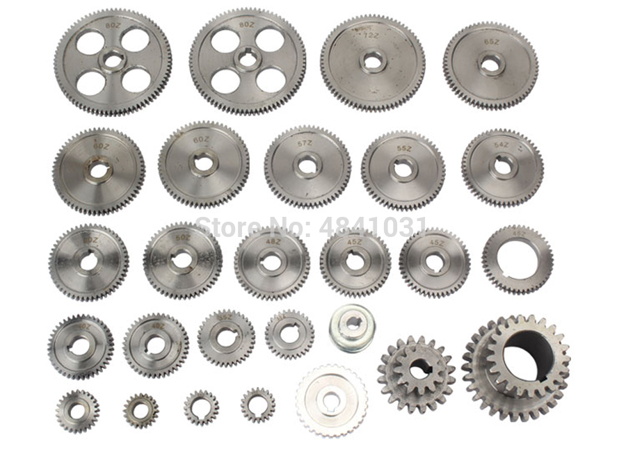 27pcs Mini Lathe Gears CJ0618 Metal Cutting Machine Gears Metal Gear Kit(Metric&imperial)