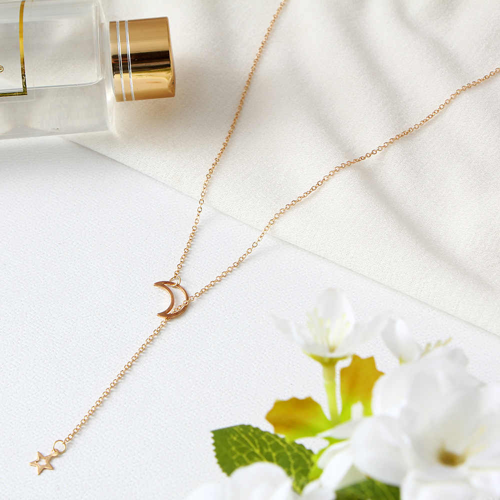 Nowy Trend moda wisiorek złoty naszyjnik kobiety gwiazdy księżyc regulowany łańcuszek strona randki akcesoria do prezentów urodzinowych