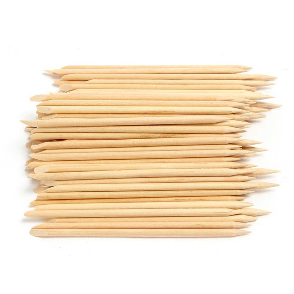 100Pcs/Pack Wooden Cuticle Pusher Remover Nail Orange Wood Sticks Manicure Pedicure Care Nail Art Tool 11.5*0.4cm Cuticle Pusher