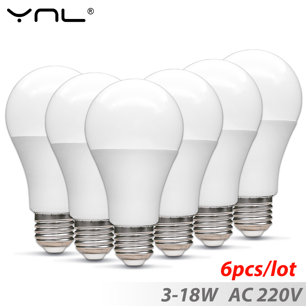 6pcs /lot Lampada E27 Led Bulb 3W 6W 9W 12W 15W 18W Top Quality Ampoule Led Lamp E27 AC 220V Bombillas Led Light Bulb Spotlight