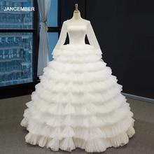 J66867 Jancember Luxe Chiffon Trouwjurk Boho O Hals Lange Mouw Floor Lengte Tiered White Wedding Gown Платье Свадебное