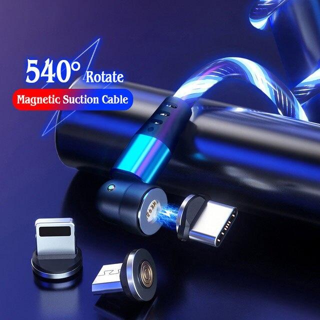 Магнитный USB-кабель со светодиодной подсветкой для iphone, зарядный кабель с поворотом на 540 градусов, Type C Micro USB, Магнитная Зарядка для Xiaomi