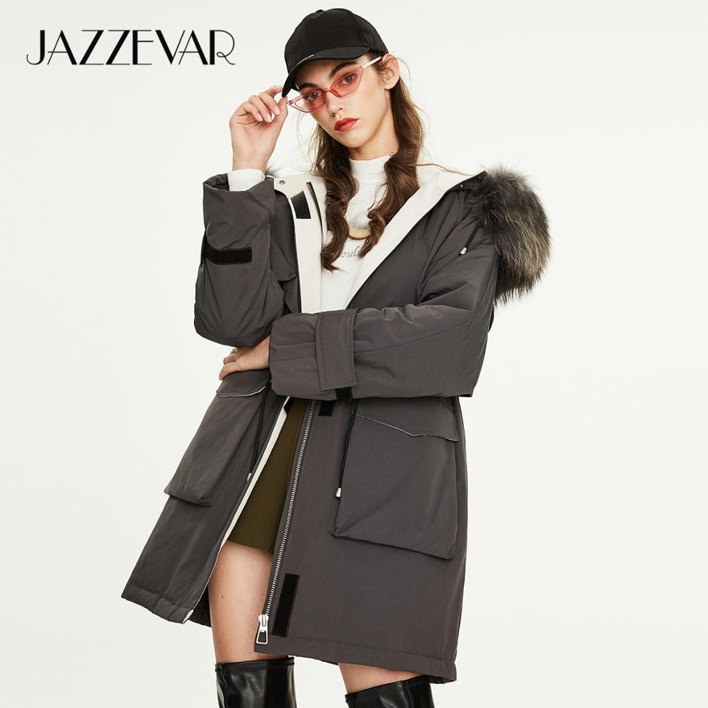 Jazzevar 2019 inverno nova chegada para baixo jaqueta feminina de alta qualidade estilo meados de comprimento com uma pele quente casaco de inverno y9058