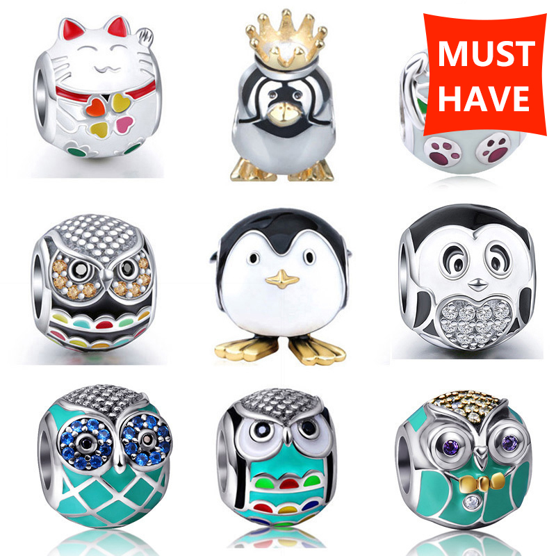 enamel charm owl pendant charms 925 sterling silver original fit authentic European bracelet beads for women jewelry making gift(China)